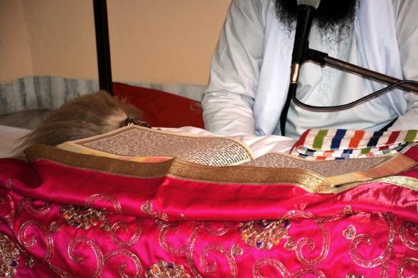 An image of the Guru Granth Sahib.