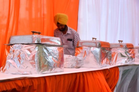 An image of an Indian buffet being set up.